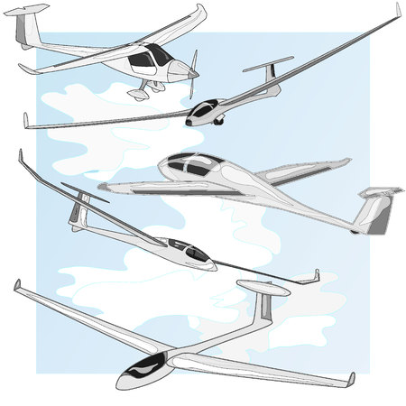 piloting: Glider sailplane illustration isolated on sky background