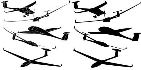 individual sports: Glider sailplane illustration isolated on sky background