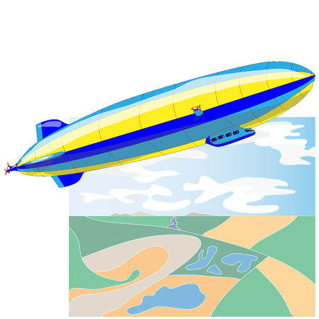 Vintage airship. Dirigible balloon. Vector illustration isolated.