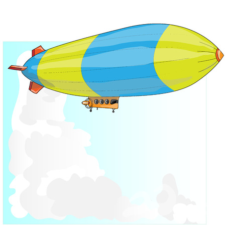blimp: Vintage airship. Dirigible balloon. Vector illustration isolated.