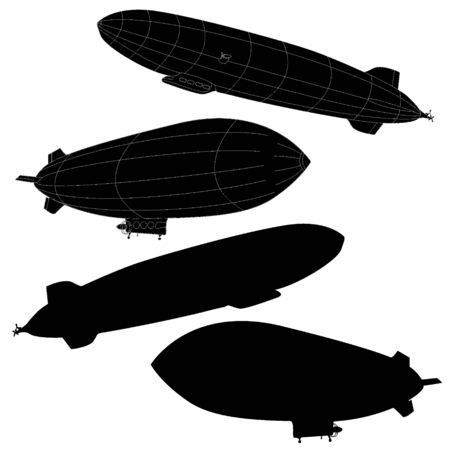 airbus: Vintage airship. Dirigible balloon. Vector illustration isolated.