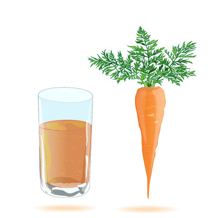 carrot juice: Fresh-squeezed carrot juice vector isolated