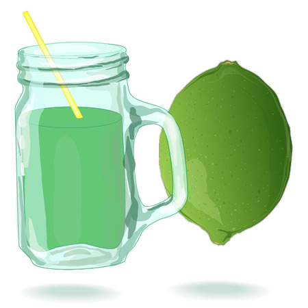 lime juice: glass filled with fresh made lime juice. Fresh lime. Vector.