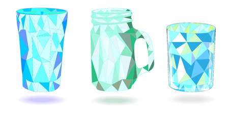 low glass: Low Poly 3 Glass vector set isolated Illustration