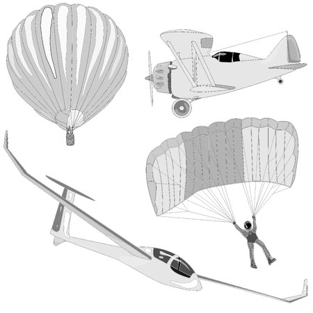 middle air: air transportation items vector set