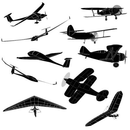 fuselage: air transportation items vector set