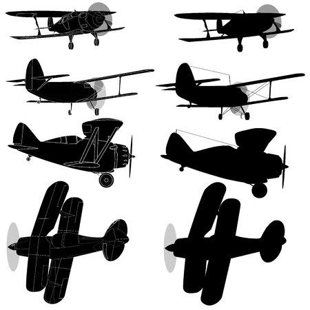 Bi plane collection isolated on sky. Vector  illustration. Illustration