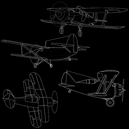 fuselage: Bi plane collection isolated on sky. Vector  illustration. Illustration