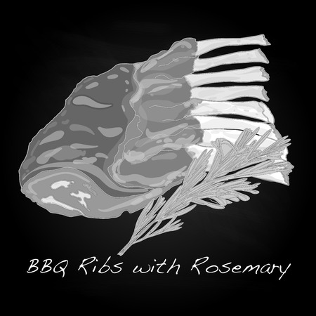 barbecue ribs: steak BBQ vector isolated
