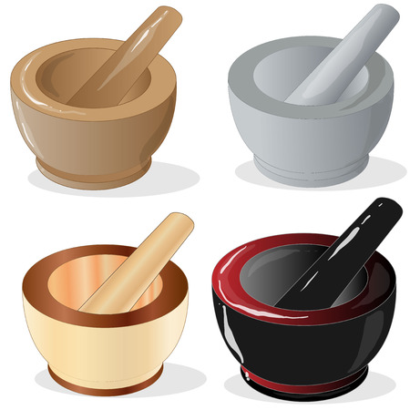 Mortar and pestle. Vector illustration isolated. Illustration