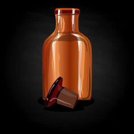 bottle of medicine: chemical glass bottle vintage vector illustration
