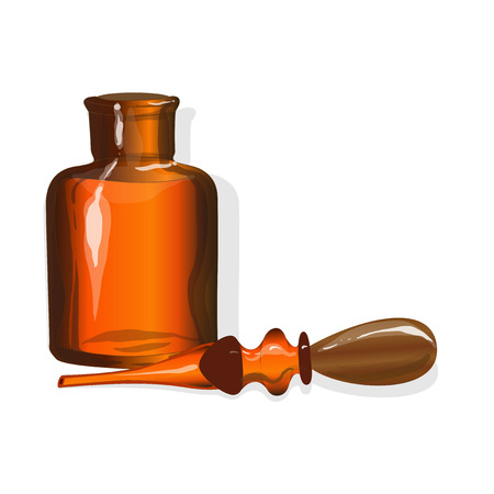 glass bottle: chemical glass bottle vintage vector illustration