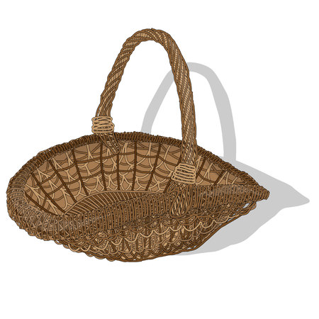 Wicker basket. Vector. Isolated illustration.