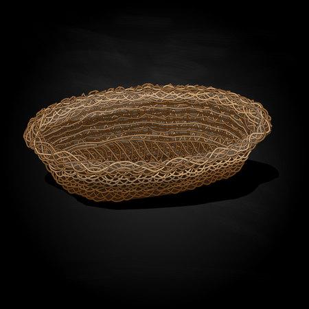 wicker: Wicker basket. Vector. Isolated illustration.