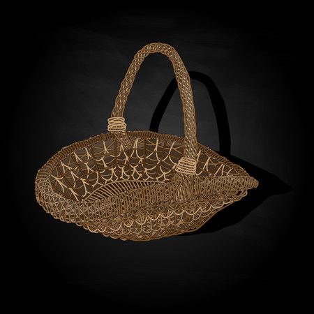 home product: Wicker basket. Vector. Isolated illustration.