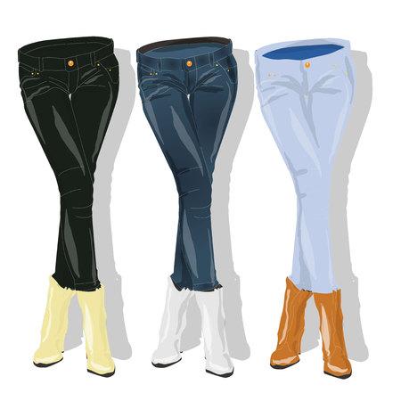 hot girl legs: Female jeans. Vector illustration.