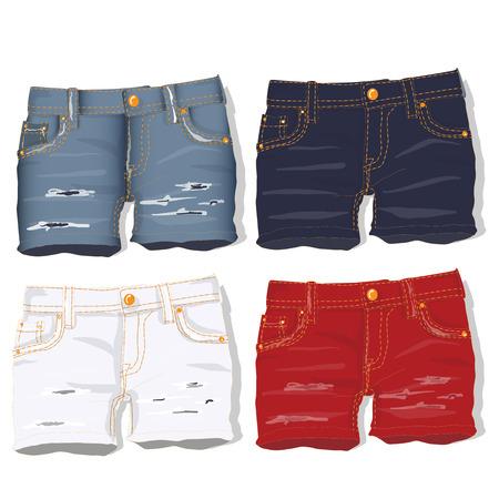 hot girl legs: Jeans shorts. Vector illustration. Illustration