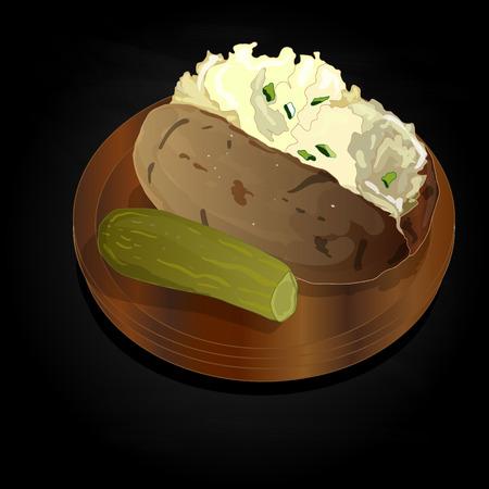 Potato BBQ illustration. Vector isolated.