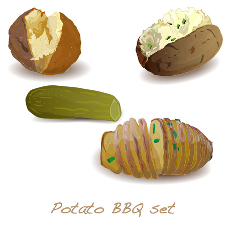 vegetable tin: Potato BBQ illustration. Vector isolated.