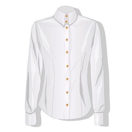 button down shirt: Dress shirt female. Clothes collection. Vector illustration.