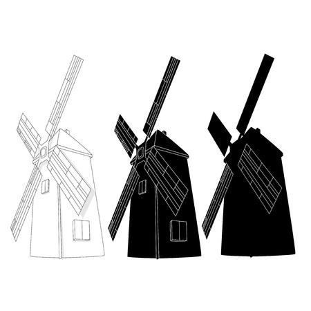 Windmill illustration. Retro. Vector isolated. Illustration