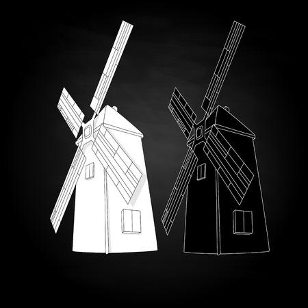dutch culture: Windmill illustration. Retro. Vector isolated. Illustration