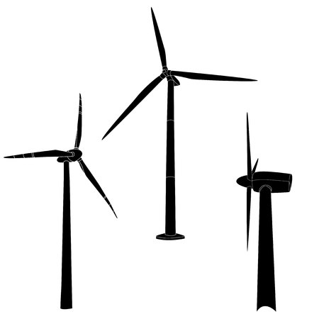 Wind turbine illustration. Vector isolated.