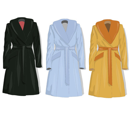 Female coat set. Vector isolated.