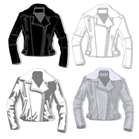 leather coat: Pilot jacket. Bomber. Vector illustration.