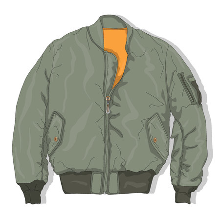 Pilot jacket. Bomber. Vector illustration.