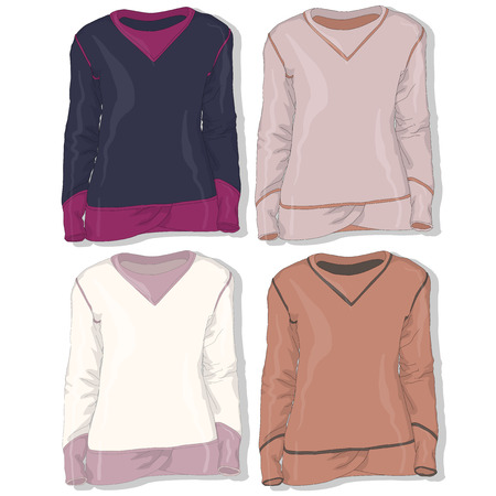 hooded: Sweatshirt set vector illustration.