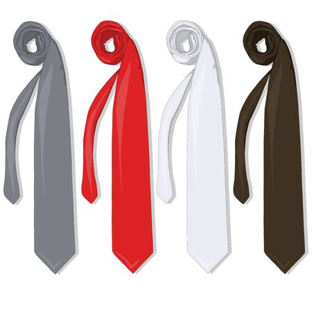 Fashion tie set. Vector isolated.