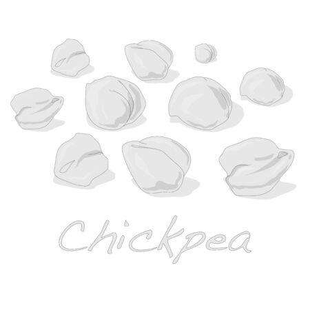 pois chiches cuits vecteur sur fond blanc