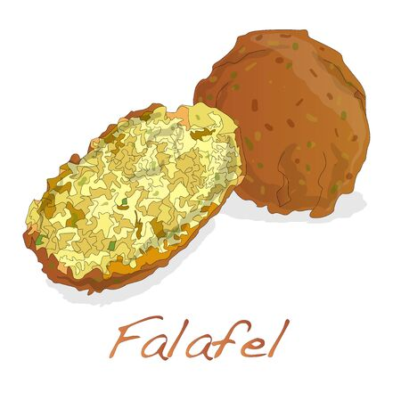 middle eastern food: Falafel balls vector isolated on a white background