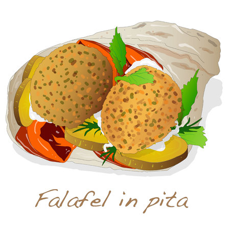 pita bread: Falafel in pita vector isolated
