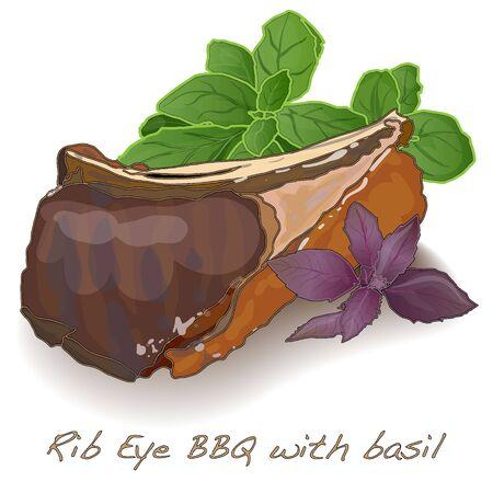 rib eye bbq with basil isolated  Stock Photo