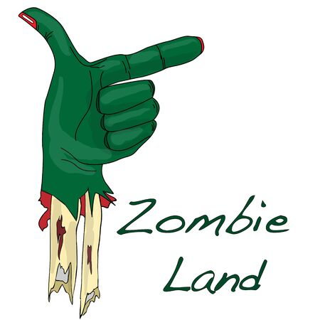 Green zombie hand isolated