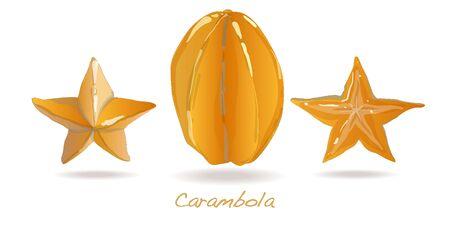 Yellow fruit carambola isolated on white background Stock Photo