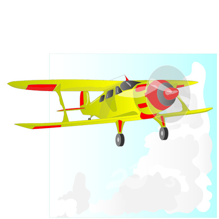 A bi plane isolated on sky. Stock Photo