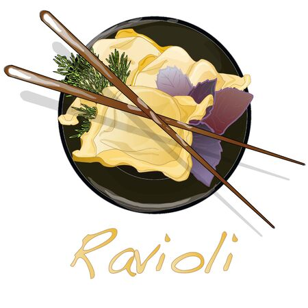 raviolo: Ravioli pasta set illustration Stock Photo