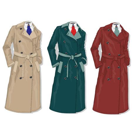Female coat illustration solated.