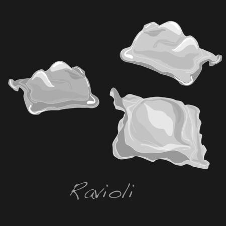 raviolo: Ravioli pasta isolated illustration