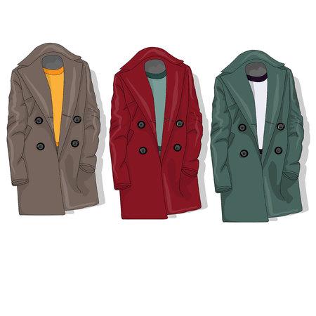 Female coat set. Illustration isolated. Stock Photo