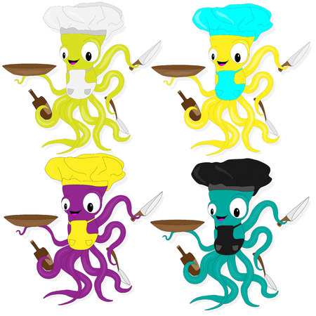 Funny cartoon octopus chef in cook hat . For seafood menu restaurant