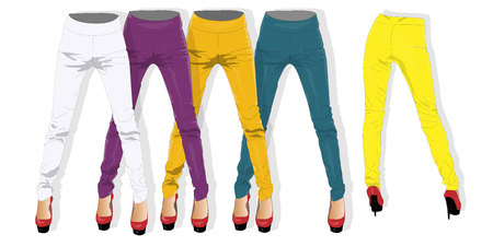 leggings: Woman leggings collection isolated.