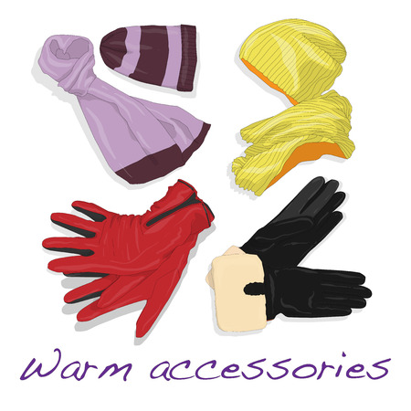 Pair of gloves, scarf and cap for woman, womanly accessories, warm clothing for winter