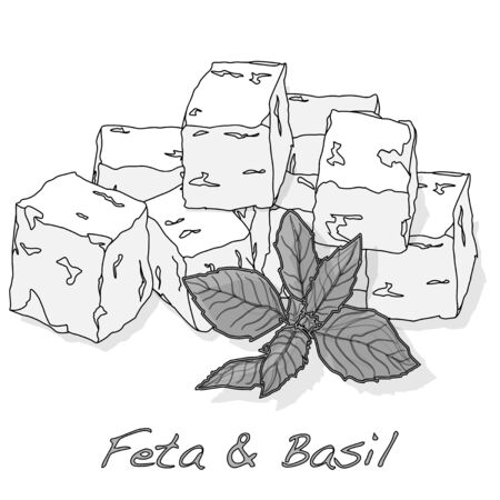 Greek feta cheese blocks isolated layout. Иллюстрация