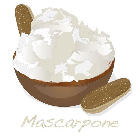 mascarpone: Mascarpone cheese isolated.