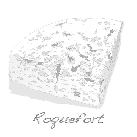Blue Roquefort cheese isolated over the white layout.
