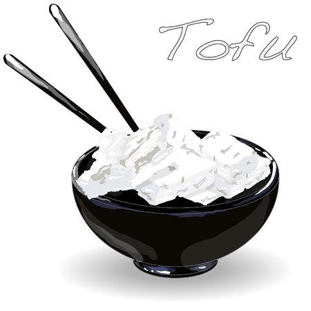 Closeup of a bowl of tofu illustration.